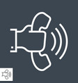 hand with phone thin line icon vector image vector image