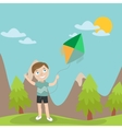 Happy Boy Launches Kite in the Mountains vector image
