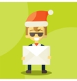 Happy businessman in Santa Claus hat Letter with vector image vector image