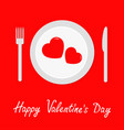 happy valentines day menu card fork knife plate vector image vector image