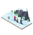 isometric happy family skiing cross country vector image vector image