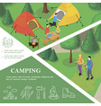 isometric outdoor recreation colorful template vector image vector image