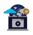 laptop video world setting cloud computing vector image vector image