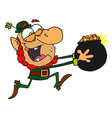 Leprechaun Running With A Pot Of Golden Coins vector image vector image