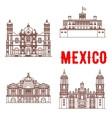 Mexican architecture icons vector image vector image