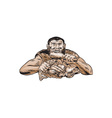 Neanderthal Man Eating Paleo Diet Etching vector image vector image