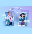 online consultation via smartphone doctor patient vector image vector image
