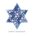 pesach passover greeting card with blue jewish vector image