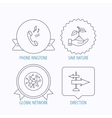 Phone global network and direction icon vector image vector image