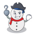 pirate snowman character cartoon style vector image vector image