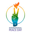 rainbow colors peace sign vector image vector image