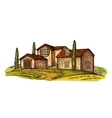 Rural landscape with villa field tree and farm vector image vector image