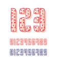 set of ten numbers form zero to nine with offset vector image