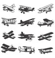 set of vintage airplanes icons aircraft design vector image vector image