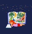 sweet little girl lying at night and reading book vector image vector image