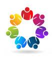 teamwork people working together logo vector image vector image
