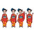 traditional japan girl character set vector image vector image