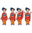 traditional japan girl character set vector image