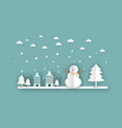 winter landscape with christmas trees snowmen vector image