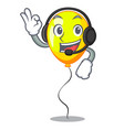 with headphone yellow balloon isolated on for vector image