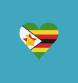 zimbabwe flag icon in a heart shape in flat design vector image vector image