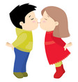 little cute boy and girl kissing valentine day vector image