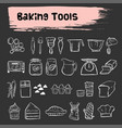 baking tools doodle sketch icon set vector image