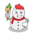 artist snowman character cartoon style