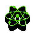 atom sign green 3d icon with vector image