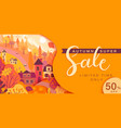 autumn sale card with fall countryside landscape vector image