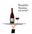 beaujolais nouveau wine with glass on tray vector image vector image