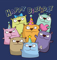 birthday card with funny cartoon bears vector image