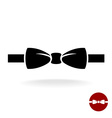 Bow tie black icon with ribbon Isolated on a white vector image vector image