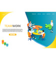 business teamwork landing page website vector image
