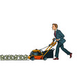 businessman cuts money like a lawnmower man vector image vector image