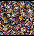 cartoon doodles desserts seamless pattern vector image