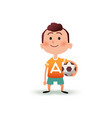 cartoon little boy holds the ball in his hand a vector image vector image