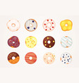 catoon donuts set with glaze vector image