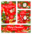christmas gift and santa new year holiday banner vector image vector image