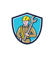 Construction Worker Spanner Shield Cartoon vector image vector image