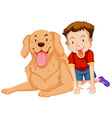 Cute boy and pet dog vector image vector image