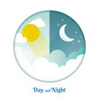 day and night layout sun moon stars and clouds vector image