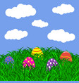 easter eggs on the grass vector image vector image