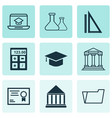 education icons set with academy building hat vector image