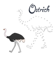 Educational game connect dots draw ostrich bird vector image vector image