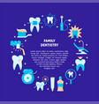 family dentistry round concept banner in flat vector image