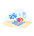 female character sitting on mat at sandy beach vector image