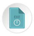 file exe icon circle vector image vector image