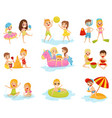flat set of little children in different vector image vector image