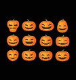 funny pumpkins set halloween symbol cartoon vector image vector image